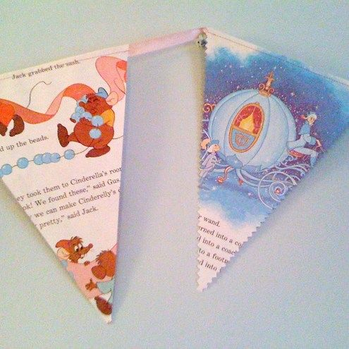 bunting made from vintage disney books!