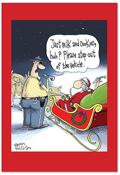 B2476XSG Box Set of 12 Santa DUI Funny Christmas Cards ...