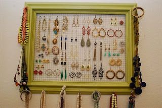 DIY jewelry organizer Chicken wire and frame attach some hooks and