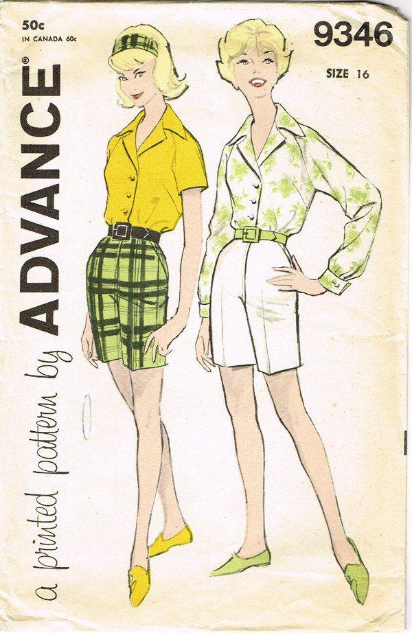 1960s Vintage Advance Sewing Pattern 9346 Uncut Misses Shorts ...