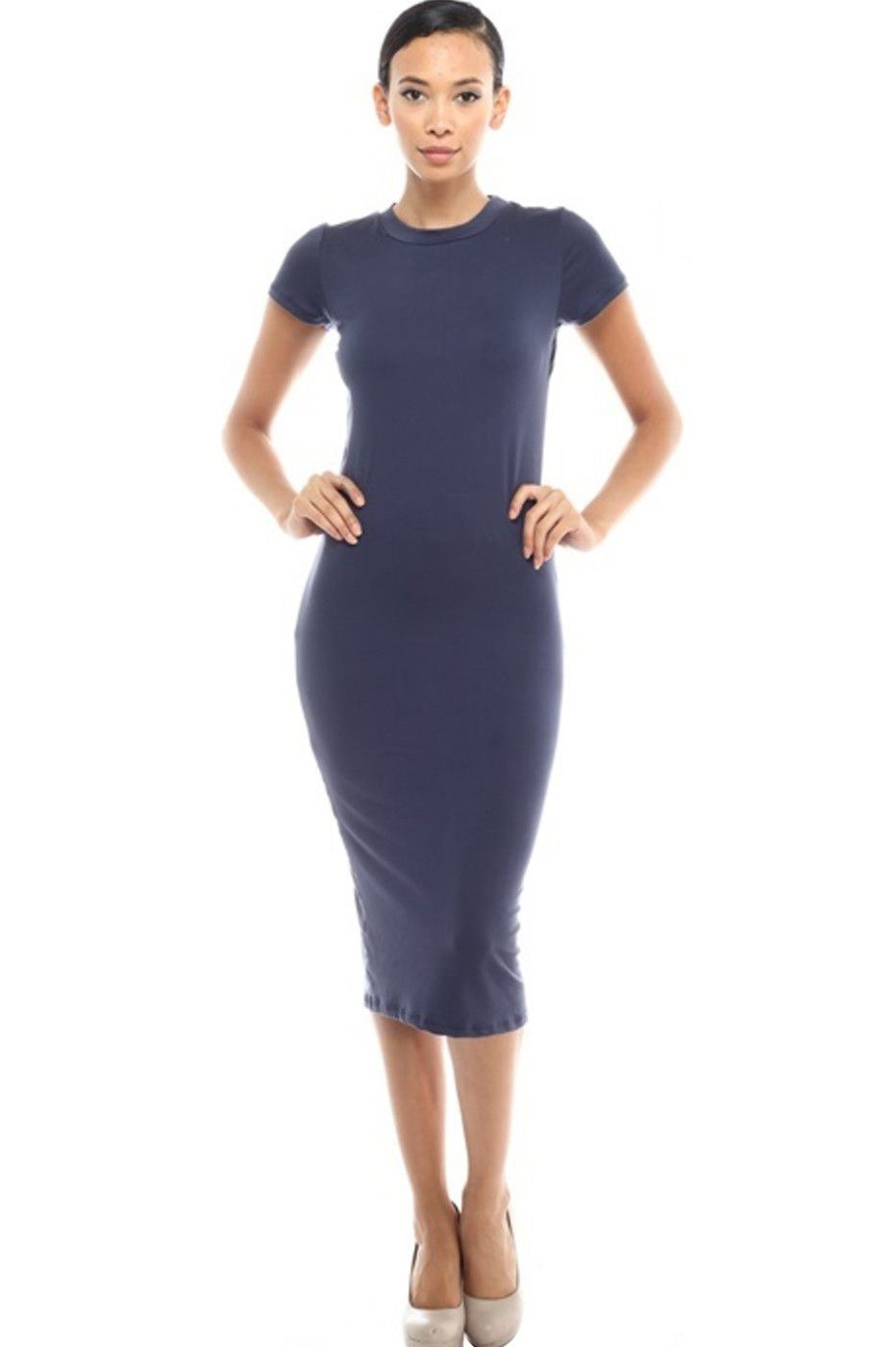Short Sleeve Knit Bodycon Midi Cocktail Dress | Pinterest