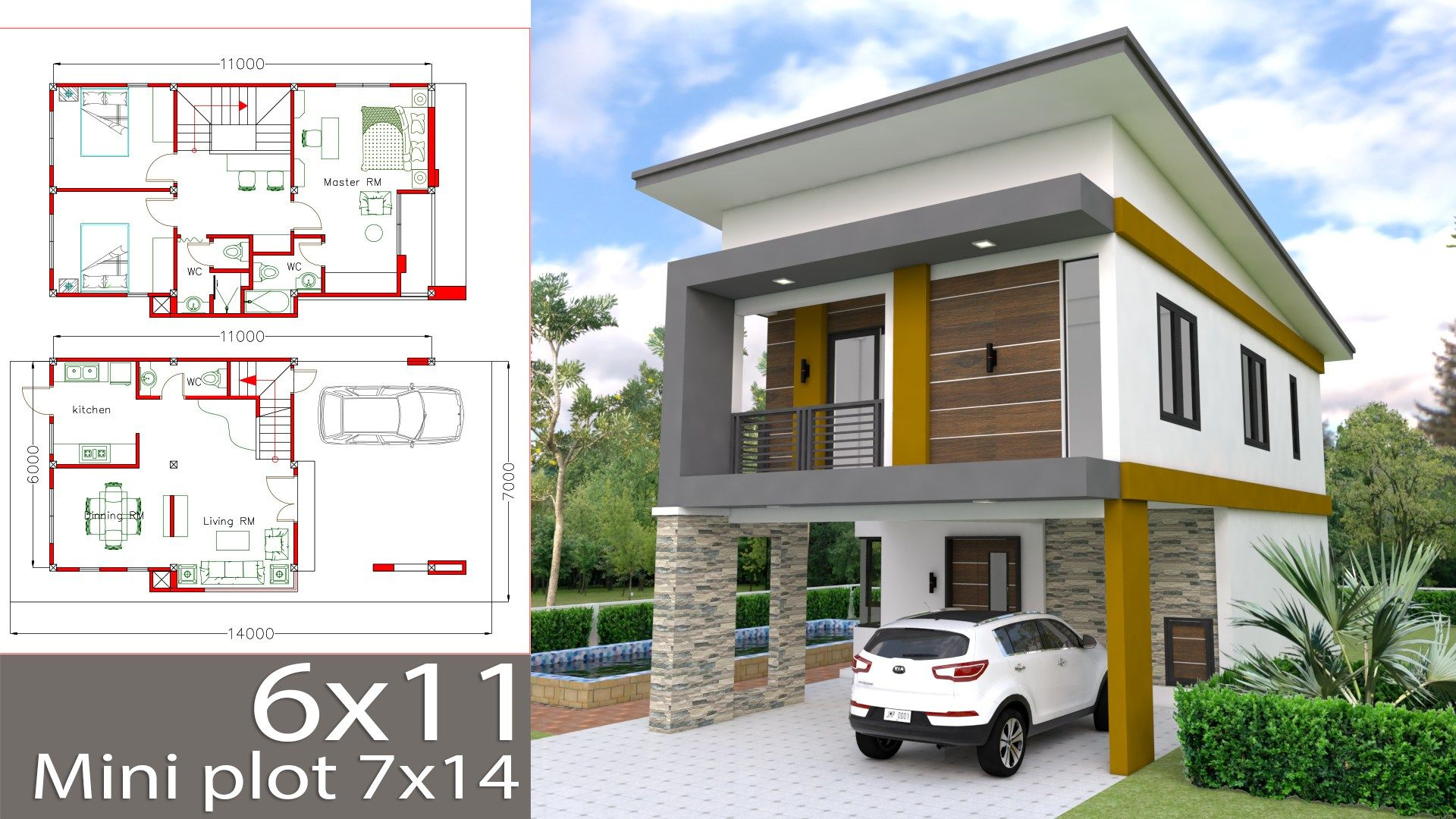 Small Home Design Plan 6x11m With 3 Bedrooms (With Images