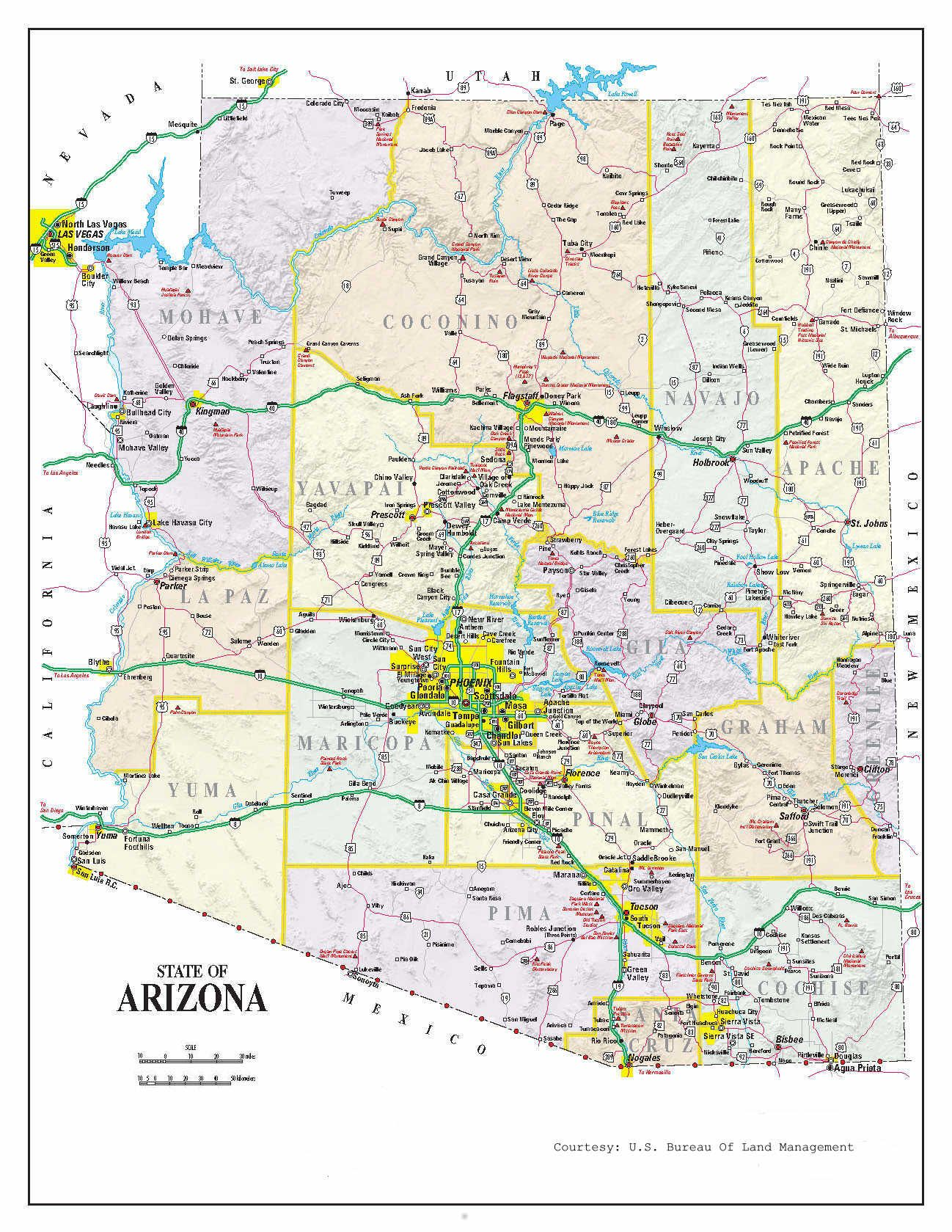 photo about Printable Arizona Map referred to as In depth Arizona Map maps inside of 2019 Printable maps, Map