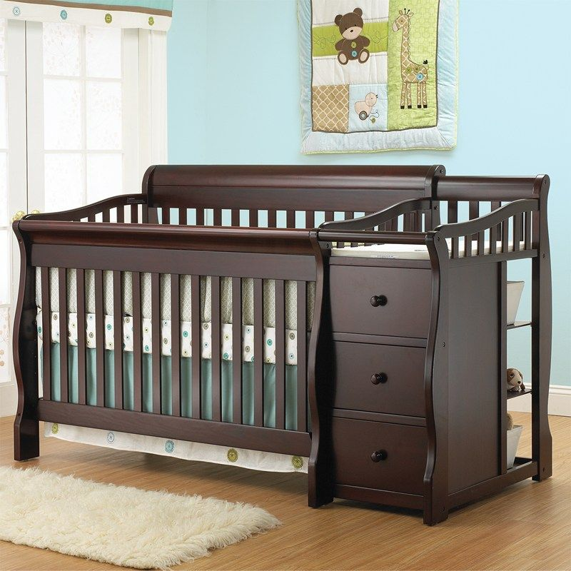 Tuscany crib changer merlot 381026294 cribs furniture for Cuna para habitacion pequena