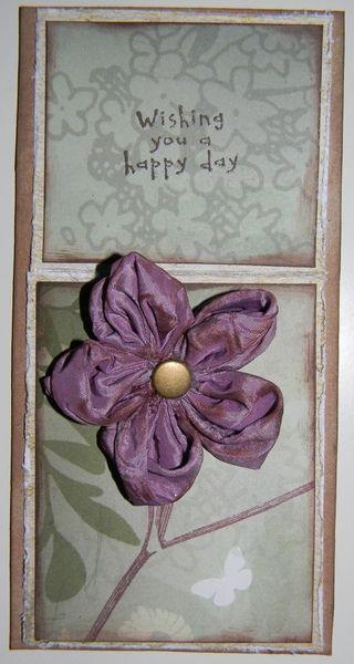 Karte mit einer Stoffblume