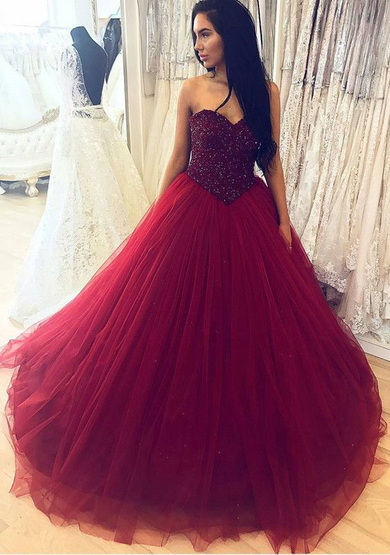 Burgundy Ball Gowns Sweetheart Quinceanera Dress Wedding Crystal Beaded Dresses Ballgowns