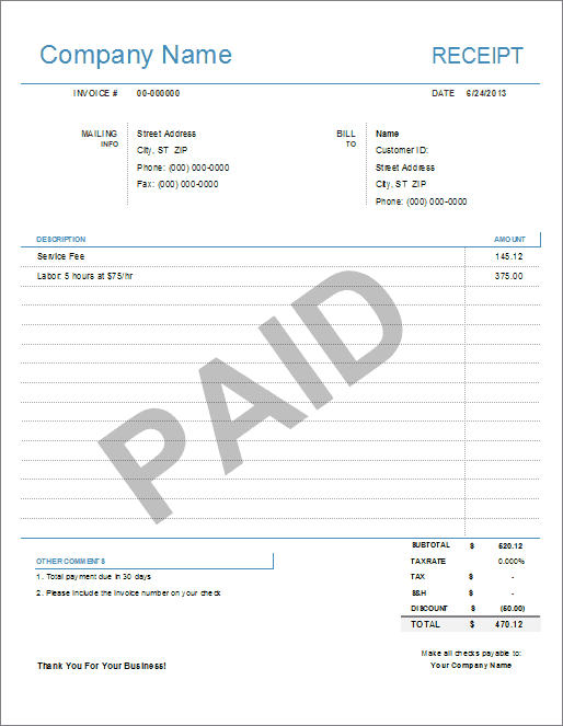 Simple Receipt Template For Excel Free Receipt Template Receipt Template Invoice Template Word
