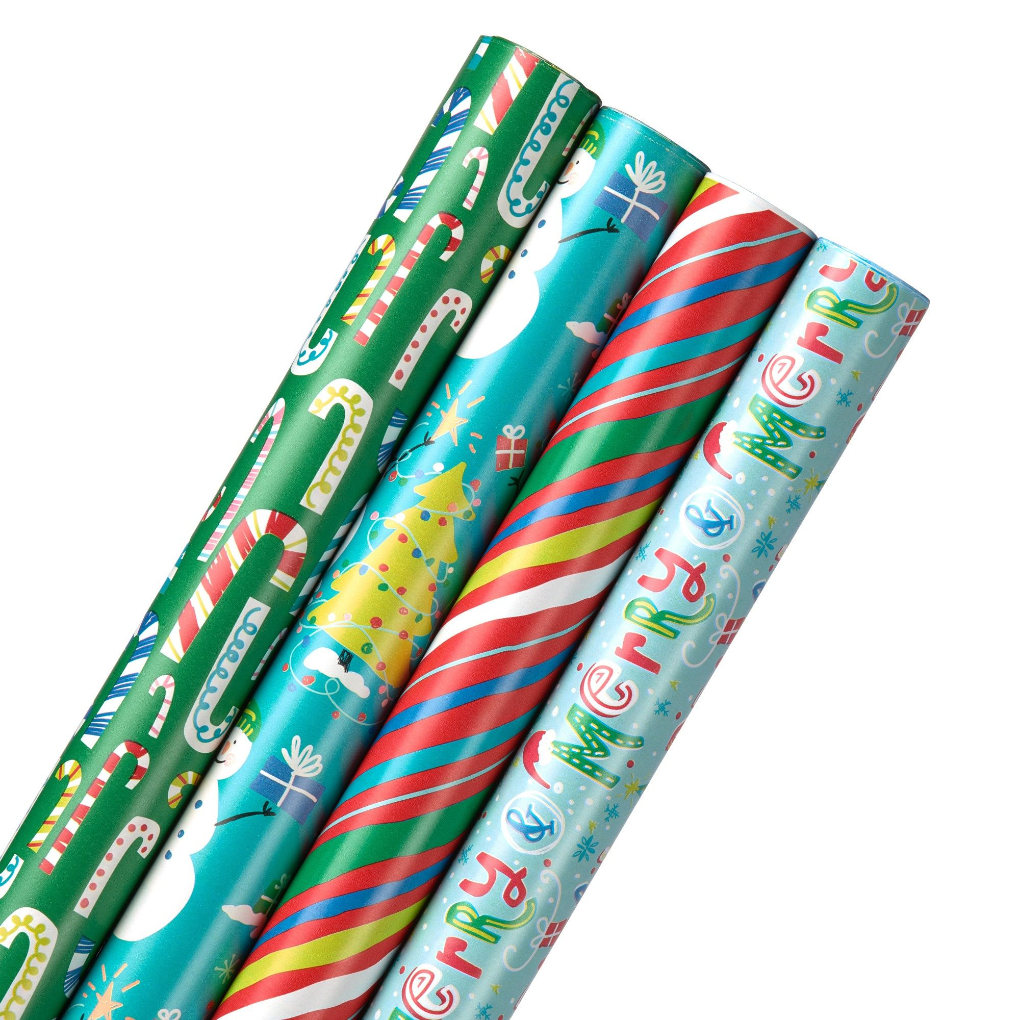 4pk Gift Wrap Snowman and Candy Canes, MultiColored