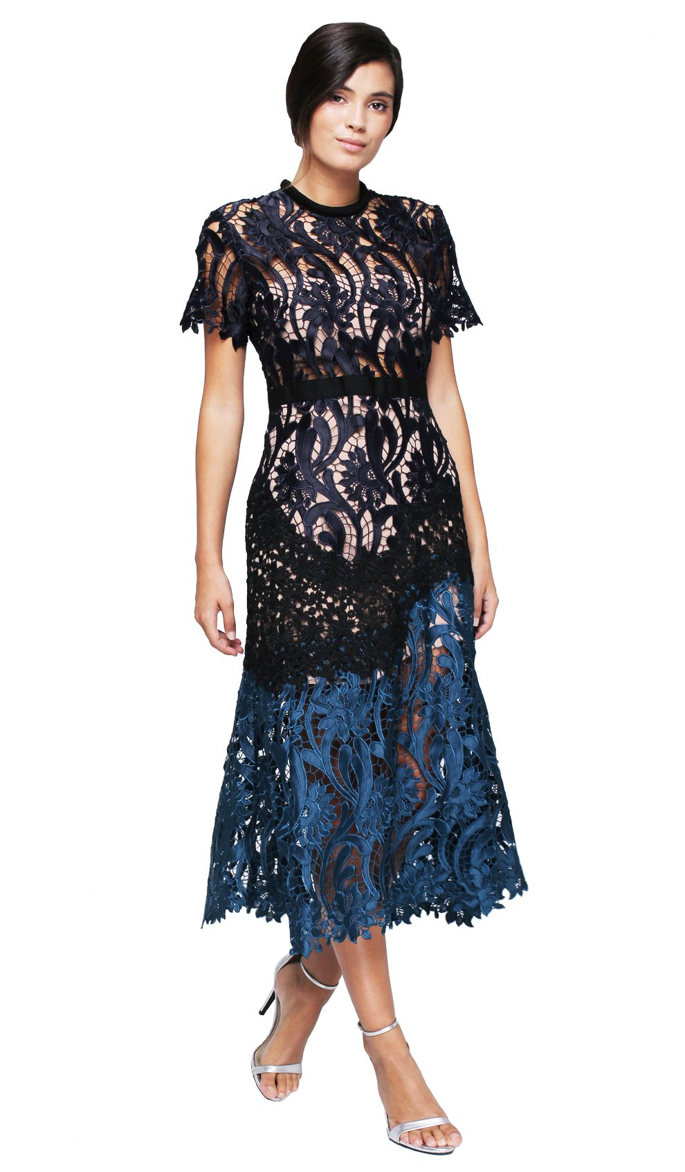 Floral Embroidered Midi Dress Hire - Self-Portrait - Front | Wedding ...