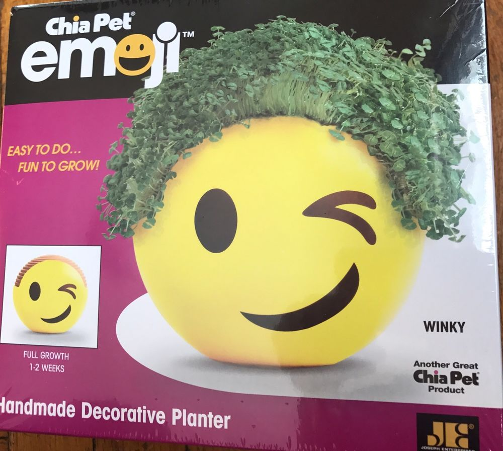 NIB Chia Pet Emoji Winky Handmade Decorative Planter Easy to Grow Fun | Collectibles, Decorative Collectibles, Planters | eBay!