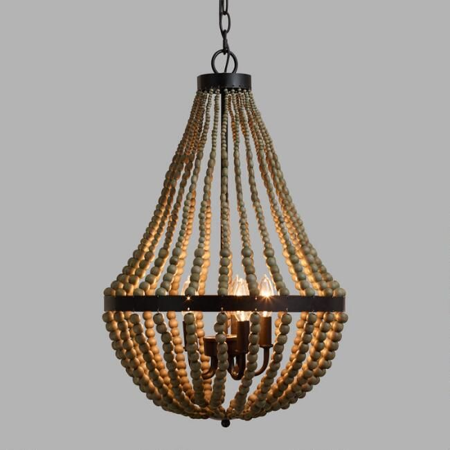 Small wood bead chandelier world market dining room