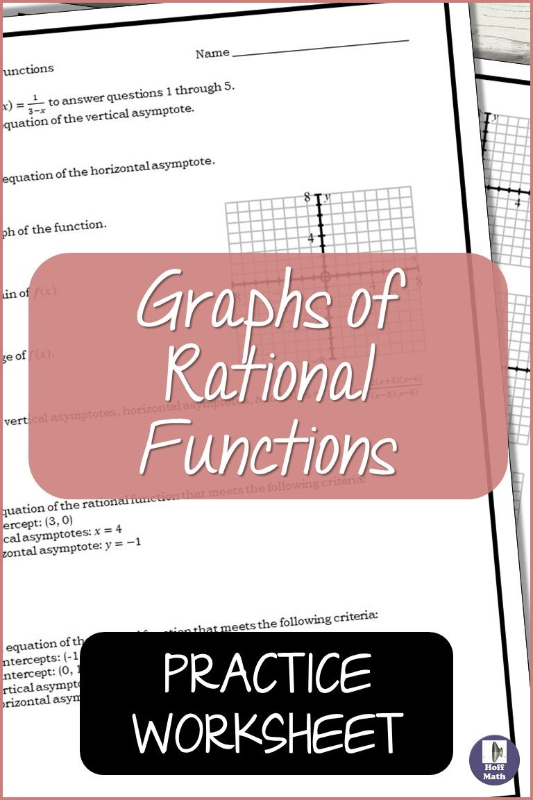 Graphs Of Rational Functions Worksheet In 2020 Rational Function Precalculus Activities This Or That Questions