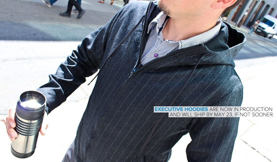 Executive Pinstripe Hoodie. Something I need as I prefer a bit less than casual business clothing