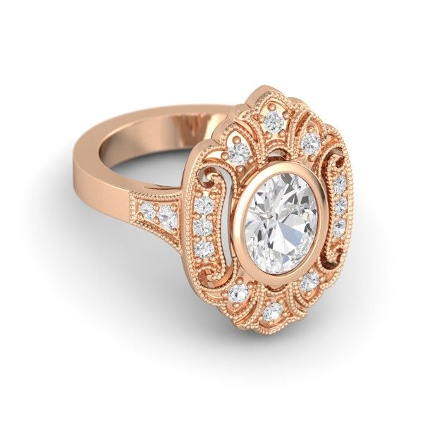 Oval White Sapphire 14K Rose Gold Ring with White Sapphire | Arya Ring | Gemvara
