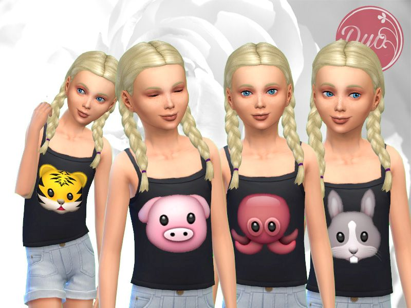 Top animals fillette For girls....clothing 八(^ ^*) Sims