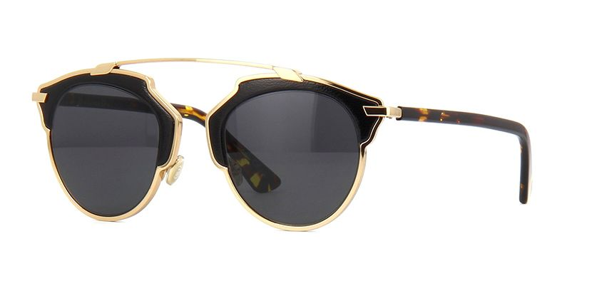 92e80cf67ab Dior So Real Leather P7PY1 Gold with Black Leather Trim Sunglasses