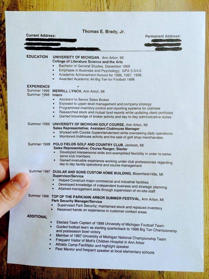 New England Patriotu0027s Tom Bradyu0027s old Resume (pre-3-superbowl - park ranger resume