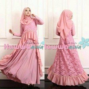 Jual Gaun Model Gamis Pesta Muslim Brokat Terbaru Lubella Vol 2 By