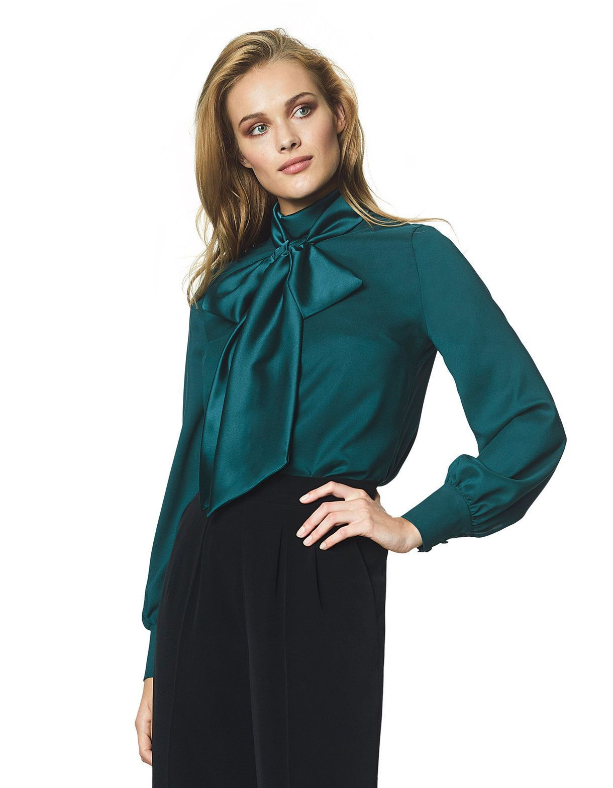 Satin pussy bow blouse