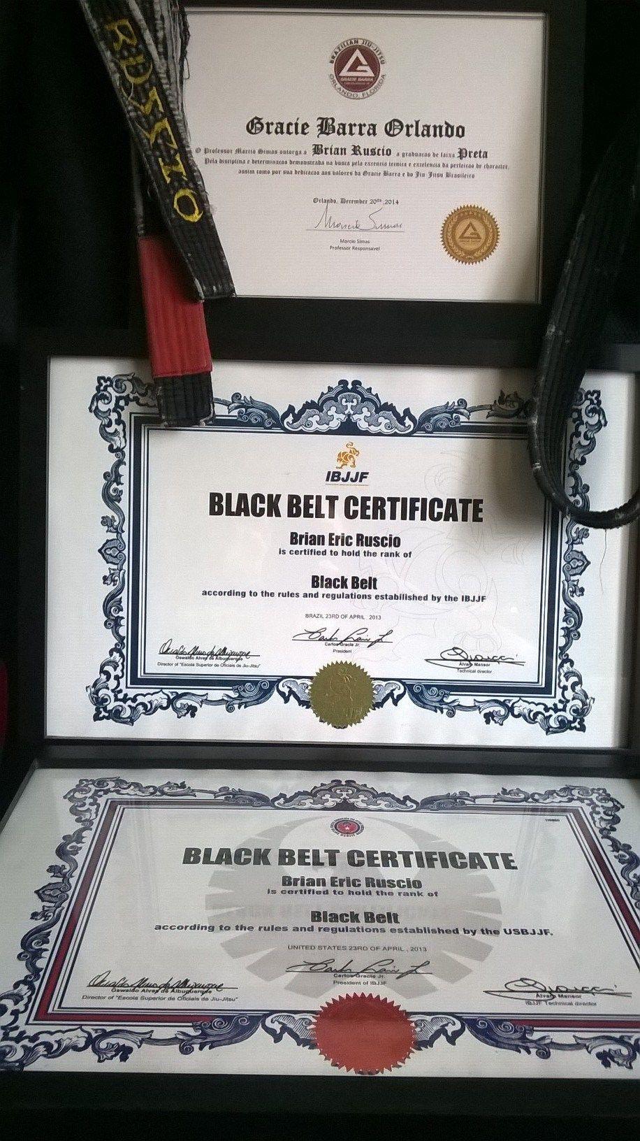 Gracie Barra Black Belt Certificate | Grappling Mastery Instructors ...