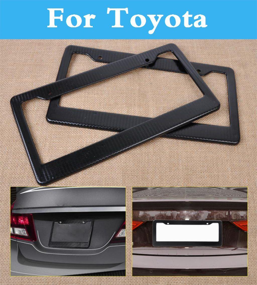 2PCS Carbon Fiber Car License Plate Frames Tag Covers Holder for ...