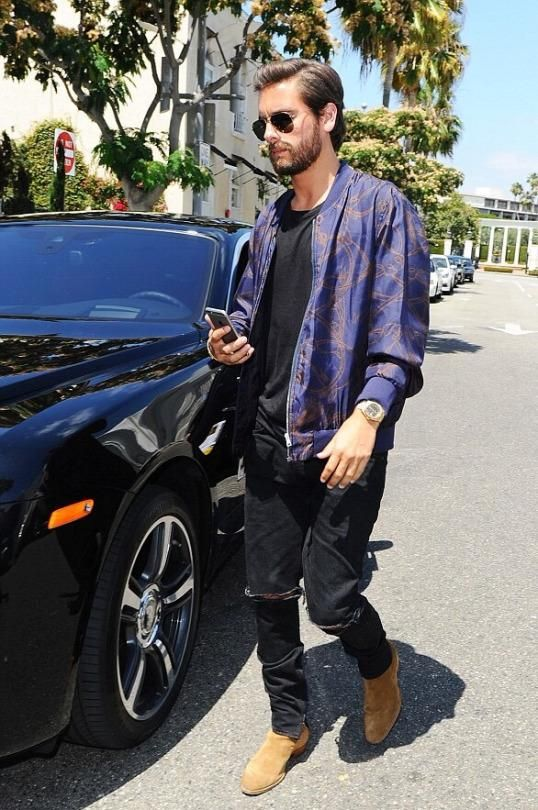 4f26073559795 Scott Disick wearing Saint Laurent Hedi Jodhpur Boots and Fear of God  Selvedge-Denim Jeans