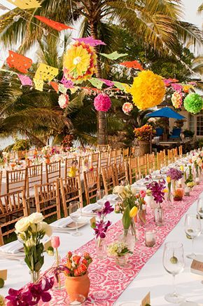 Colorful Wedding In Mexico Great Fiesta Decorations And Table