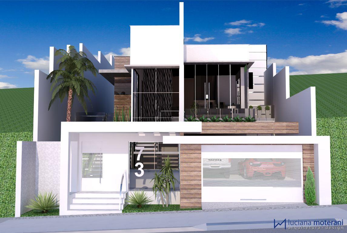Fachadas com port o recuado pesquisa google casa ideas for Casa minimalista pinterest