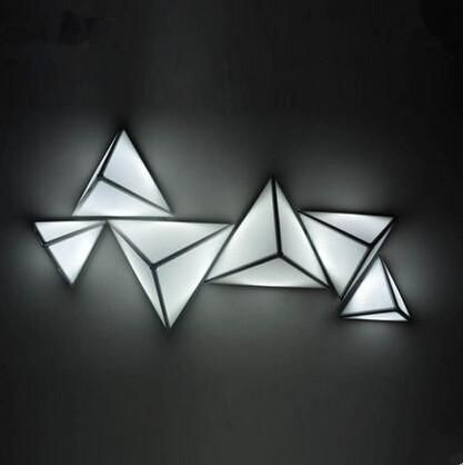 Concise Acrylic Led Ceiling Light Triangle Creative Modern Living Lamp Fixtures For Home Lightings Luminari Paneles De Pared 3d Paneles De Pared Lampara Madera