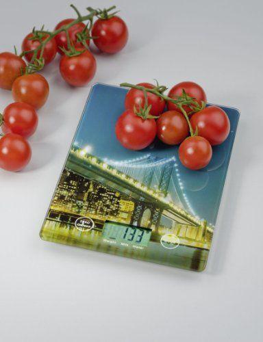 Wenko 25222100 Kitchen scale Brooklyn Bridge ,extra slim, Glass Tempered glass, 14 x 1.2 x 19.5 cm, Mehrfarbig