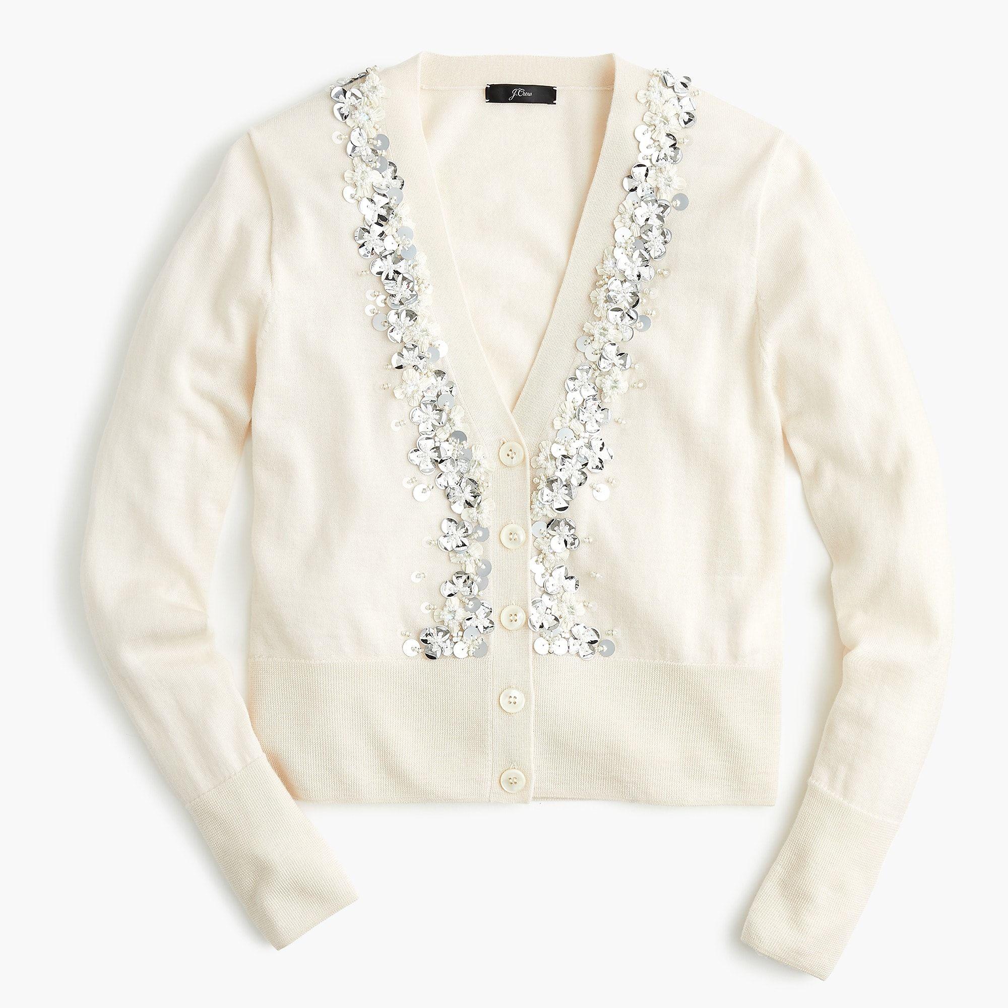 27b1bdfa4123 J.Crew - Sequin embellished V-neck cardigan sweater