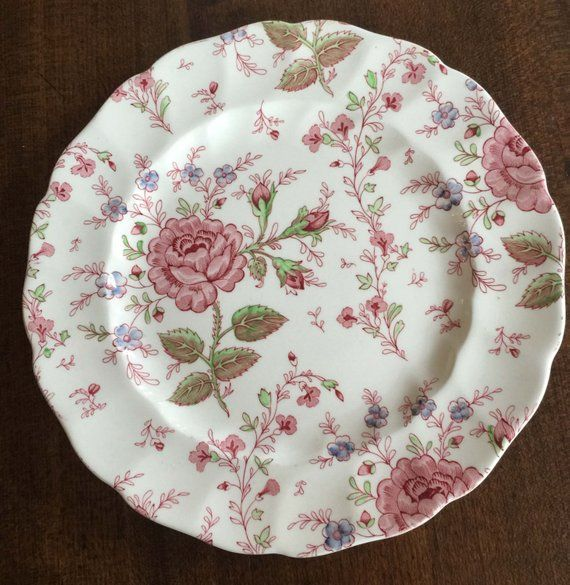 5 vintage pink /'rose chintz/' johnson bros ceramic dinner plates pink and white floral pattern dishes romantic cottage england set of 5