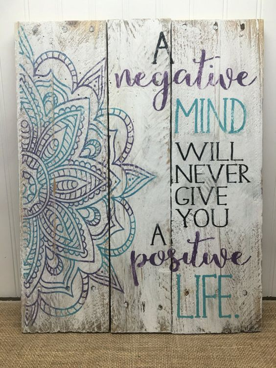Bohemian Wall Art rustic pallet wall art - mandala positive life sign - wood wall