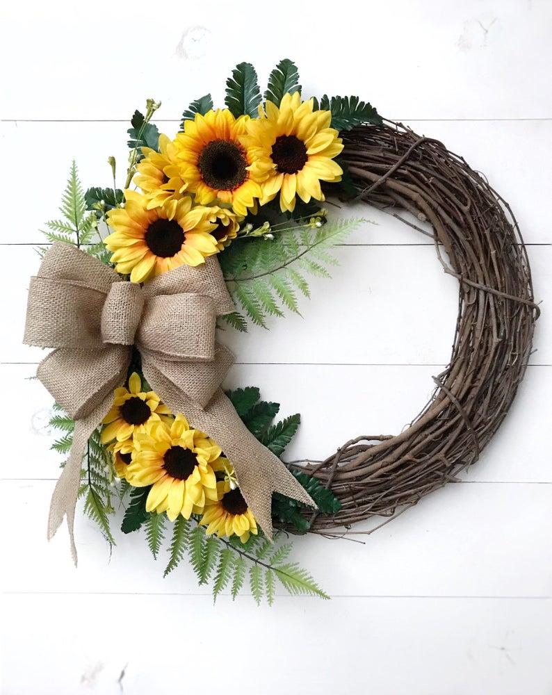 Photo of Sunflower Wreath with Burlap Bow | Door Wreath with Sunflowers | Year Round Front Door Wreath | Farmhouse Wreath