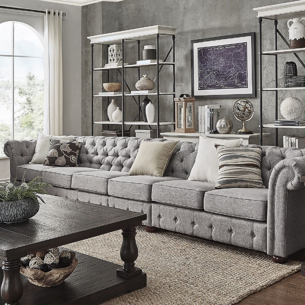 Knightsbridge Grey Linen Oversize Extra Long Modular Sectional Sofa Extension By Signal Hills