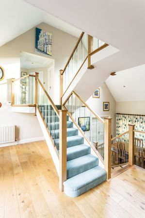 Best Oak Staircase With Glass Spindles Staircase Contemporary 400 x 300