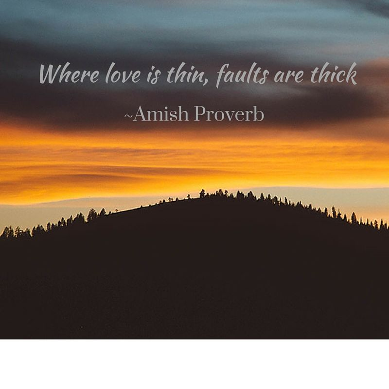 """""""Where Love is thin, faults are thick.""""   ~Amish Proverb  #amishproverb #wisdom #realsimple"""