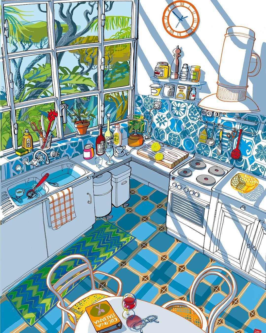 Italian Kitchen in the Summer light. Illustration by Carlo Stanga.  Carlo Stanga is an illustrator living and working in Berlin. He creates images for books newspaper articles advertising campaigns covers and more. His art recieved many awards and now he also has experience in the fields of designfashion and animation.  Итальянская кухня в летнем свете. Иллюстрация Карло Станга. Иллюстратор Карло Станга живет и работает в Берлине. Он создает иллюстрации для книг газетных статей рекламных…