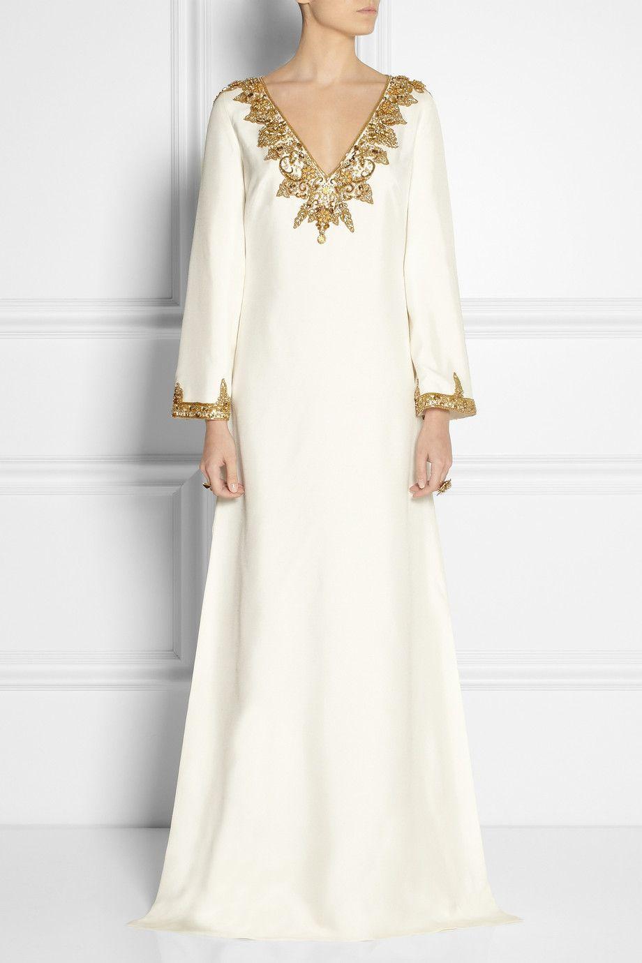 Marchesa embellished silk shantung kaftan style gown for White kaftan wedding dress