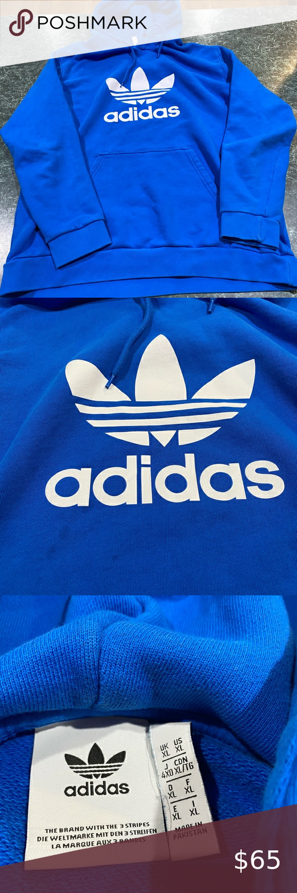 Adidas Blue Big Trefoil Logo Hoodie Men S Sz Large Hoodies Men Blue Adidas Sweatshirt Shirt [ 1740 x 580 Pixel ]