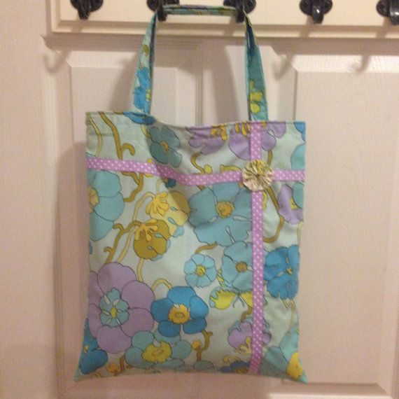 Upcycled Vintage Fabric Tote Bag by UppityStuff on Etsy