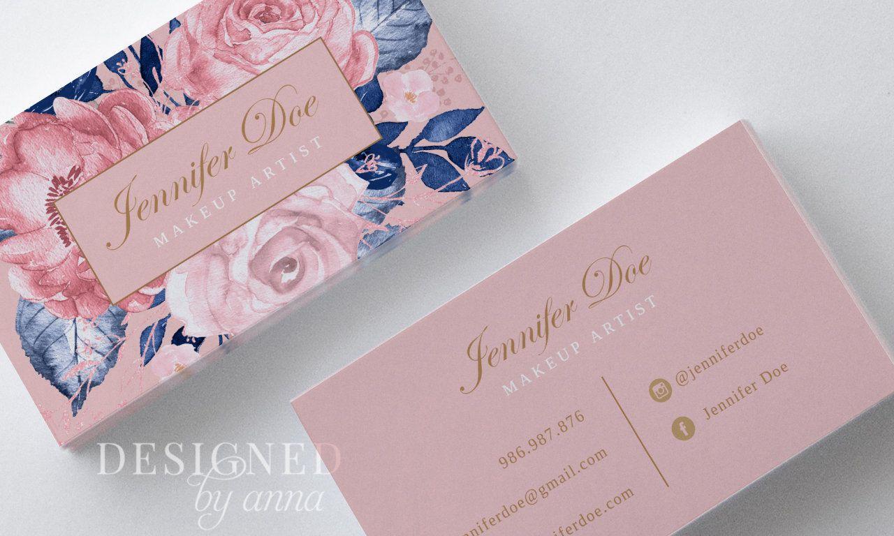 Floral Business Card Design Printable Business Card Template Etsy In 2021 Floral Business Cards Business Card Design Salon Business Cards
