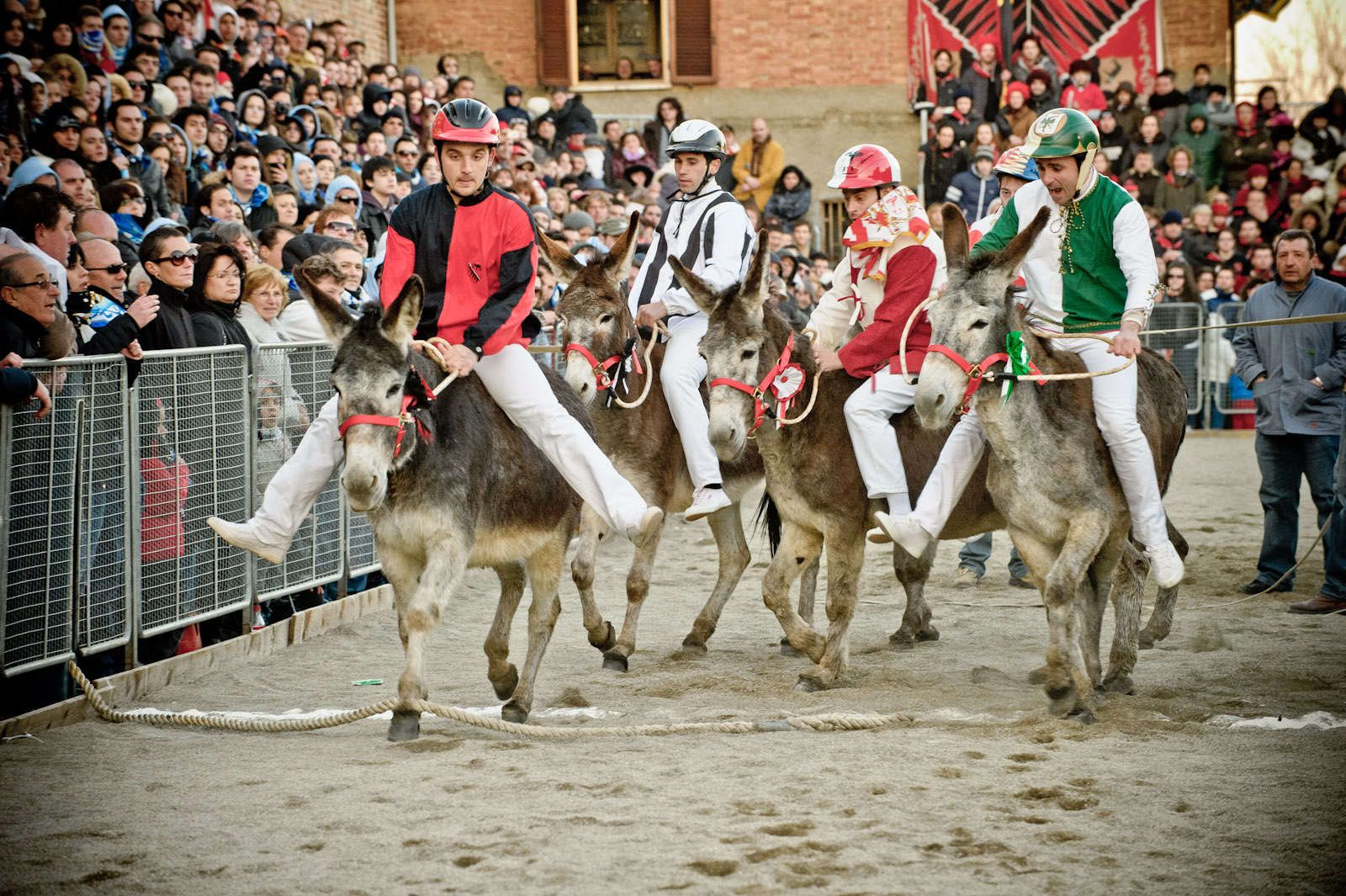 Originally conceived for paying tribute to Saint Joseph - patron of woodworkers - the Palio celebrations start on the 14th of March with the taverne - inns - openings and continue throughout the following week with propitiatory dinners held in the various contrade (village quarters) participating in the competition - the donkeys race -  held on March 22. On the same day, there will also be a parade with people dressed up in historical costumes, flag throwers and drummers.