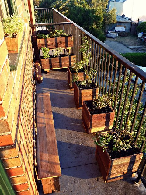 Beautiful balcony garden made from reclaimed wood