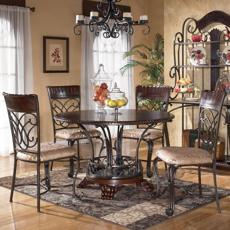 Ashley Furniture Alyssa 5-Piece Round Dining Table & Side Chair ...