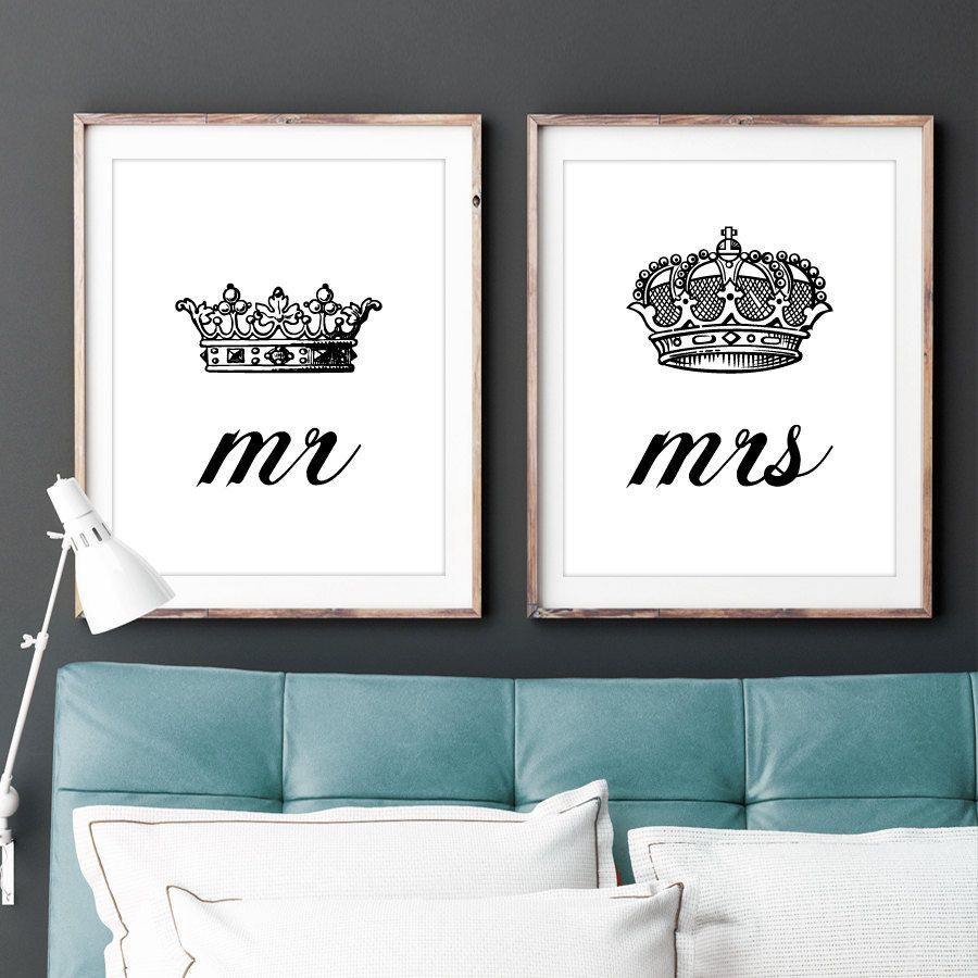 His And Hers Crown Wall Decor set of two 2 mr and mrs his hers king queenlochnessstudio