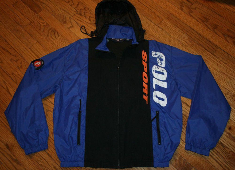 075102192c0c Vintage Polo Sport Ralph Lauren nylon hooded zip windbreaker Jacket Men's  Large #PoloSport #Windbreaker