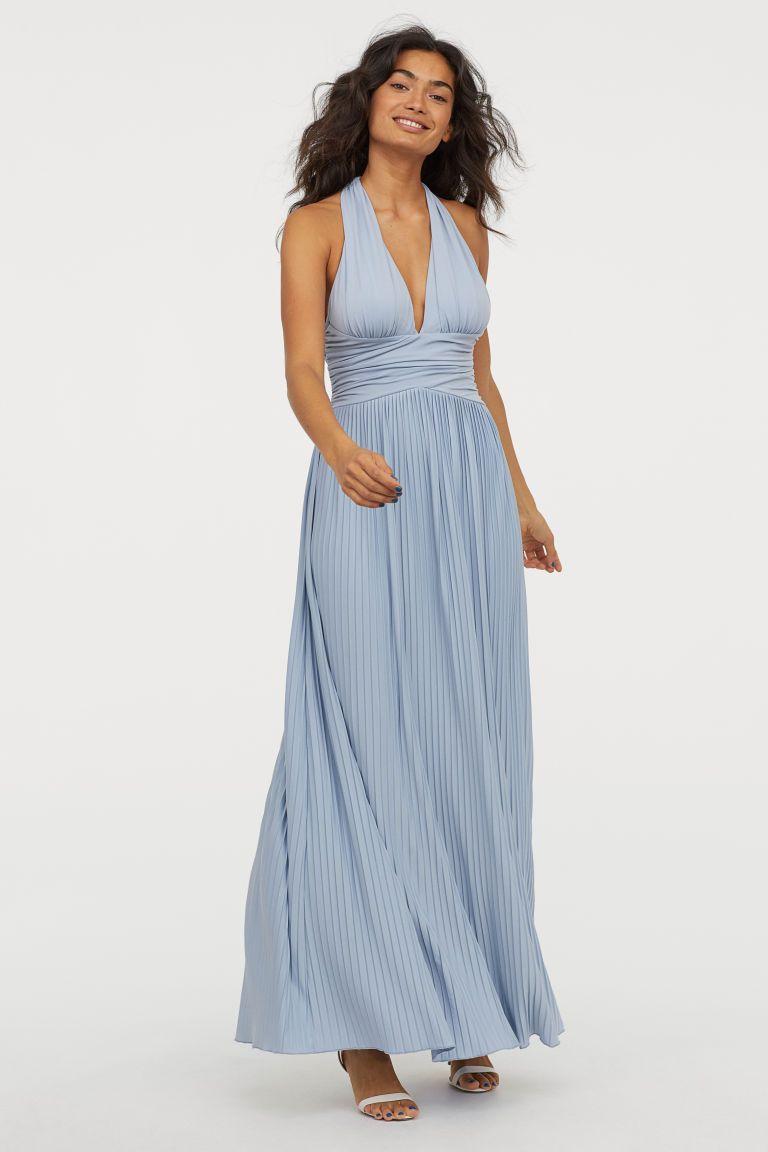 e90979b02c204a Geplisseerde maxi-jurk - Licht mistblauw - DAMES