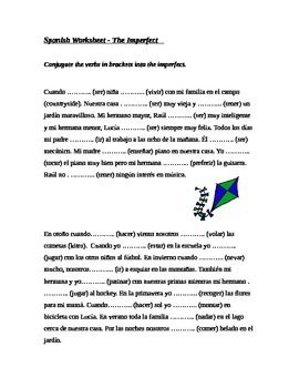 imperfect tense spanish worksheet imperfecto spanish worksheets and worksheets. Black Bedroom Furniture Sets. Home Design Ideas