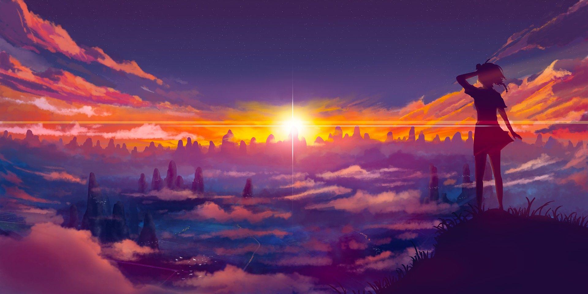 Girl And Sunset wallpaper 風景, 景色, 写真